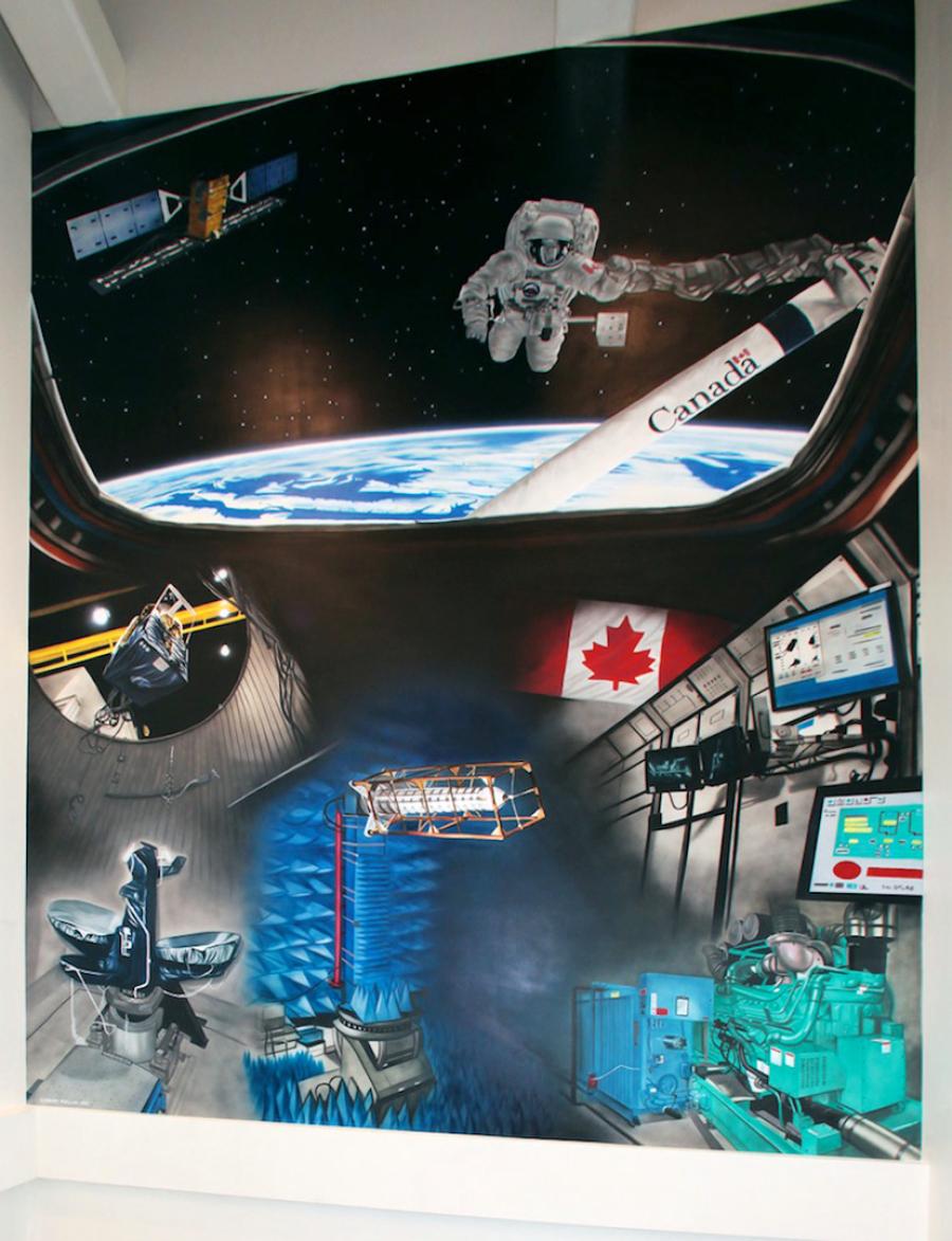 toronto muralist painter airbrush murals by corrado mallia home canadian space agency mural 12 x 15 acrylic on drywall 2011
